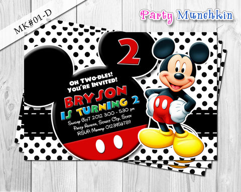 Mickey Mouse Invitations, Mickey Mouse Invite for Mickey Mouse Birthday in Red, Black, Blue, White polkadots