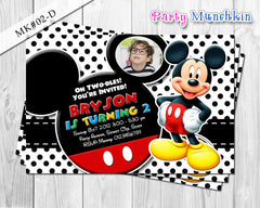 Mickey Mouse Photo Invitations, Mickey Mouse Invite for Mickey Mouse Birthday in Red, Black, Blue, White polkadots