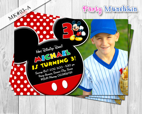 Mickey Mouse Photo Invitation for Mickey Clubhouse inspired birthday - DIY Digital