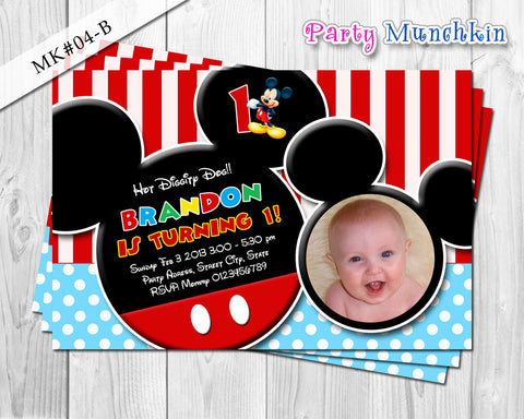 Mickey Mouse Photo Invitation, Mickey Mouse Invite for Mickey Mouse Birthday in Red, Black, Blue, White Stripes and Polkadots