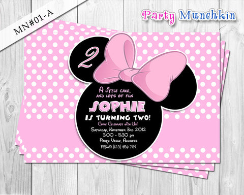 Minnie Mouse Invitations, Minnie Mouse Invites, Minnie Mouse Cards for Minnie Mouse Birthday in Black and Light Pink polkadots