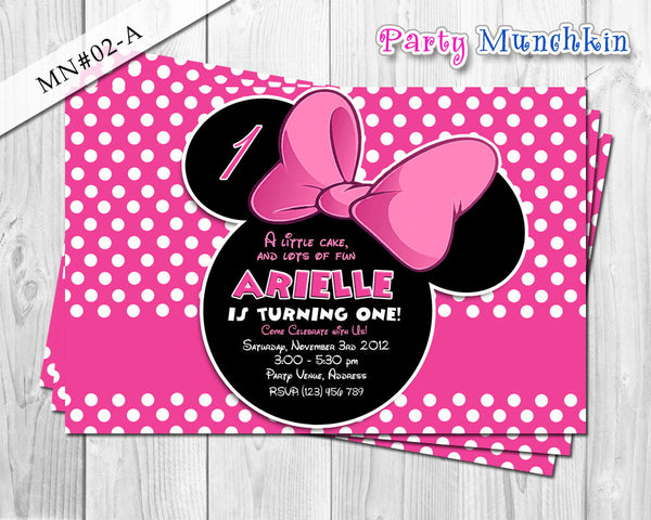 Minnie Mouse - Invitations, Invites, Cards for Minnie Mouse Birthday in Black and Hot pink polkadots