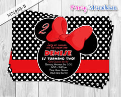 Minnie Mouse Invitations, Minnie Mouse Invites, Minnie Mouse Cards for Minnie Mouse Birthday in Black and Red polkadots