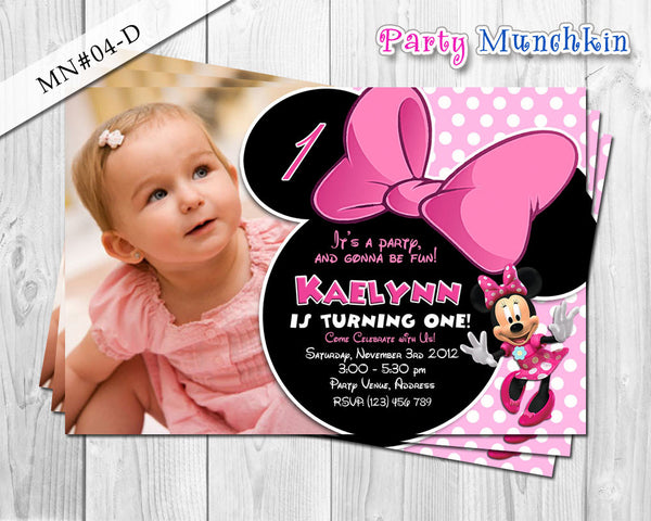 Minnie Mouse Invitations, Minnie Mouse Photo Invite for Minnie Mouse Birthday in Polkadots or Zebra prints