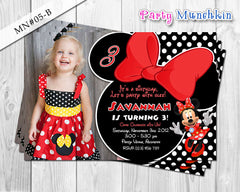 Minnie Mouse Invitations, Minnie Mouse Photo Invite for Minnie Mouse Birthday in Red, Black and Yellow