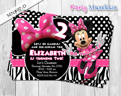 Minnie Mouse Invitations, Minnie Mouse Invite for Minnie Mouse Birthday in Light Pink, Black polkadots, Stripes or Zebra prints