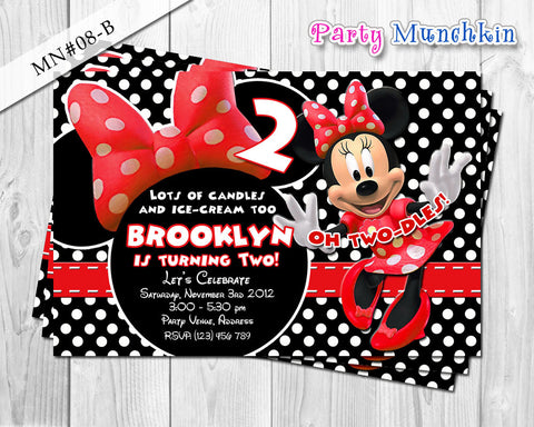 Minnie Mouse Invitations, Minnie Mouse Invite for Minnie Mouse Birthday in Red, Black polkadots and Zebra prints