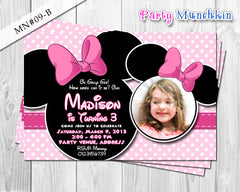 Minnie Mouse Invitations, Minnie Mouse Photo Invite for Minnie Mouse Birthday in Polkadots, Line or Zebra prints