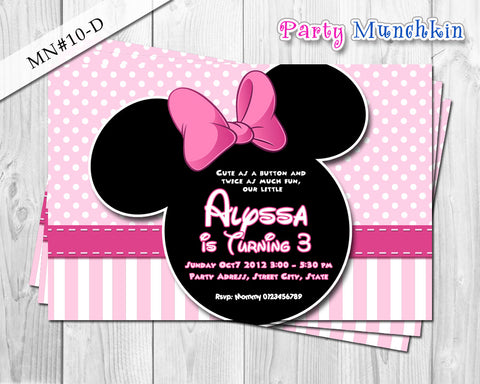 Minnie Mouse - Invitations, Invites, Cards for Minnie Mouse Birthday in Black and Baby pink polkadots