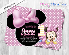 Baby Minnie Mouse Invitations, Baby Minnie Invite for Minnie Mouse Birthday or Baby Shower