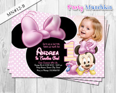 Baby Minnie Mouse Photo Invitations, Baby Minnie Invite for Minnie Mouse Birthday or Baby Shower