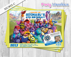 MONSTERS UNIVERSITY Photo Invitation, Monsters University Personalized Photo Invite for Monsters University Birthday - DIY Printable