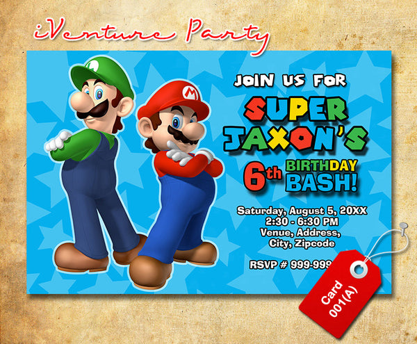 Mario Birthday Invitations- Mario Brothers Birthday Party invite (6x4 or 7x5)