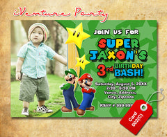 Mario Invitations- Mario Brothers Birthday Party invite (6x4 or 7x5)