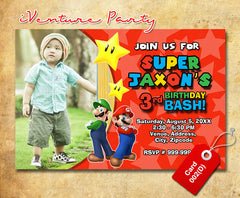 Digital Mario Birthday Invitations- Mario Brothers Birthday Party invite (6x4 or 7x5)