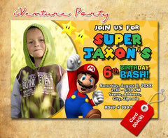 DIY Mario Birthday Invitations - Mario Brothers Birthday Party invite (6x4 or 7x5)