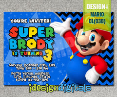 Mario brothers Invitations, Mario Brothers Birthday Party - chevron invite (6x4 or 7x5)