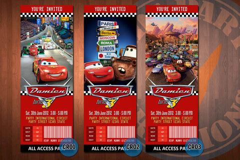 CARS ticket Invitations, McQueen invitation, Mater invitation, Cars birthday invitations