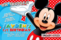 Mickey Mouse PRINTABLE Invitation For Mickey Mouse Birthday (Red Background)