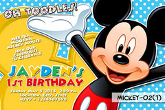 Mickey Mouse Invitation For Mickey Mouse Birthday Party DIGITAL (Blue Background)