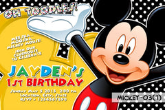 Mickey Mouse Invitation in Digital Printable File for Mickey Mouse Birthday (Black Background)
