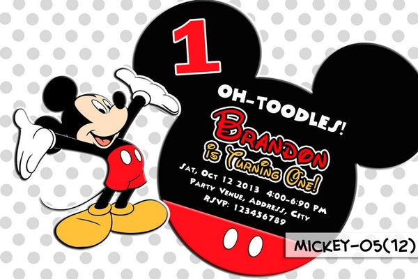 Mickey Mouse DIGITAL Invitation For Mickey Mouse Birthday Party (PolkaDot)