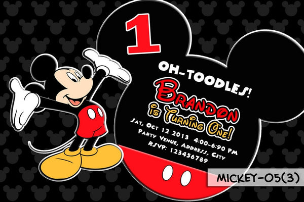 Mickey Mouse PRINTABLE Invitation For Mickey Mouse Birthday Party (Mickey Ears)