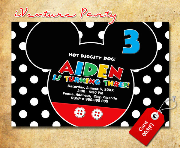 Mickey mouse Invitation - Mickey party printables for mickey inspired birthday theme