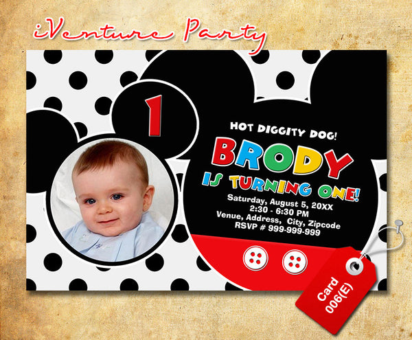 Mickey mouse Invitations - digital Mickey birthday invitation for mickey mouse inspired theme