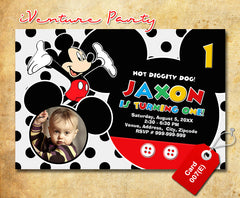 Mickey mouse birthday Invitations - digital Mickey birthday invitation for mickey mouse inspired theme