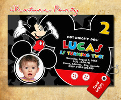 Mickey mouse birthday Invitations - digital Mickey birthday card for baby shower or birthdays