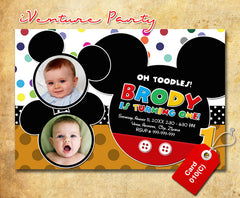 DIY Mickey mouse Invitations - digital Mickey birthday card for baby shower or birthdays