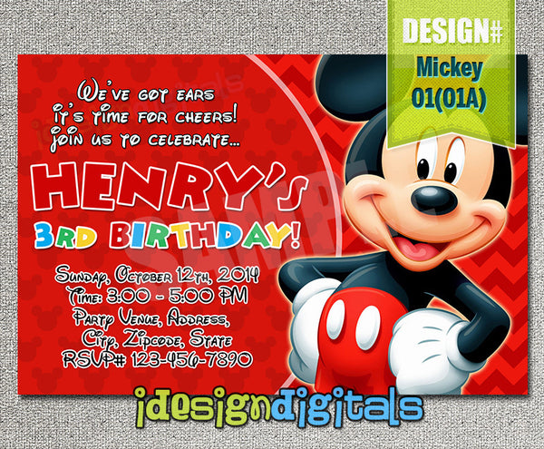Mickey Mouse Invitation - Mickey Birthday Party (6x4 or 7x5)