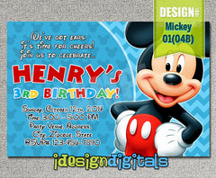 Mickey Invitations - digital Mickey mouse printable for mickey inspired Birthday (6x4 or 7x5)