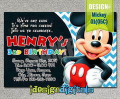 Digital Chevron Mickey Invitation - Mickey mouse printable for mickey inspired Birthday (6x4 or 7x5)