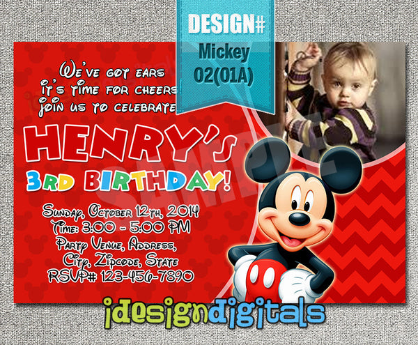 DIY Mickey mouse Invitations - digital Mickey birthday card for mickey clubhouse baby shower or birthdays
