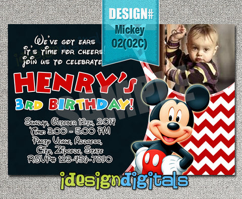 Chevron Mickey mouse photo Invitations - digital Mickey birthday card for mickey clubhouse baby shower or birthdays