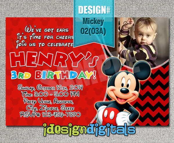 Mickey mouse birthday Invitation - Mickey party printables for mickey mouse inspired birthday theme