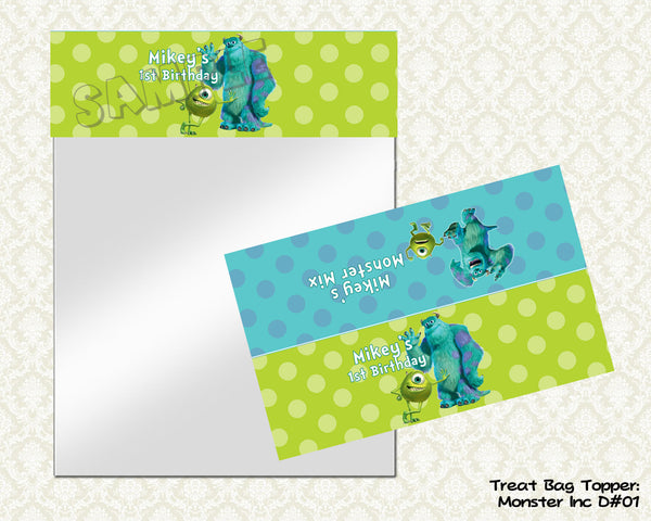 Monsters Treat Bag Topper - Monsters Inc Goodie Bag Topper - Printable & Personalized for Monsters University Birthday Party
