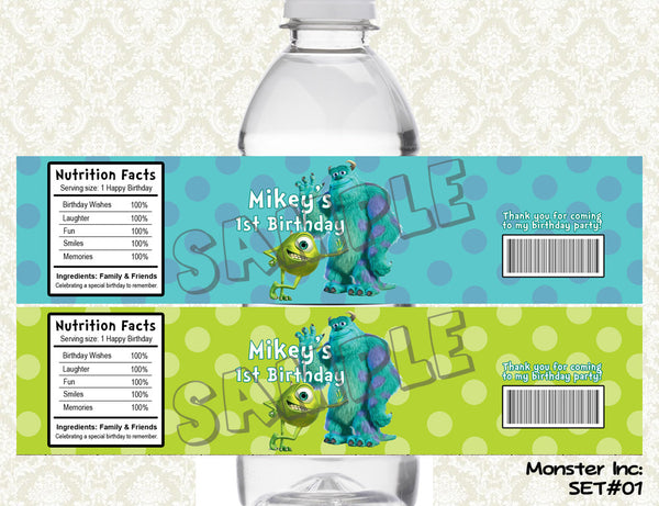 Monsters Inc Water Bottle Labels - Monsters University Printable & Personalized for Monsters Birthday Party (Set of 2)