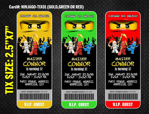 Ninjago ticket invite for Ninja birthday - DIY printable