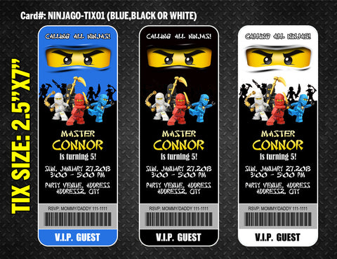 Ninjago ticket invitation for Ninja birthday party - DIGITAL printable
