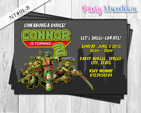 TMNT Invitations Ninja Turtles Invite for Teenage Mutant Ninja