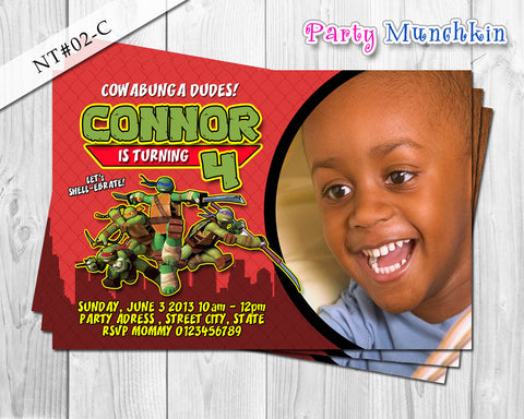 TMNT Photo Invitations, Ninja Turtles Photo Invite for Teenage Mutant Ninja Turtles Birthday - DIY PRINTABLE