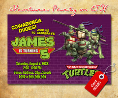 Teenage Mutant Ninja Turtles Birthday Photo Invitations- TMNT Birthday Party - Ninja Turtles photo invitation