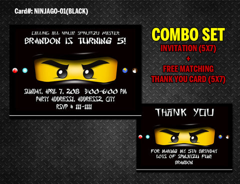 Ninjago Invitation and Thank you DIGITAL printable for Ninja birthday (Black)