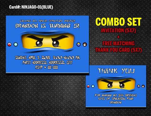 Ninjago Invitation and Thank you DIGITAL printable for Ninja birthday (Blue)