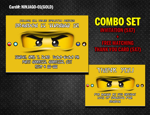 Ninjago Invitation and Thank you DIGITAL printable for Ninja birthday (Gold)