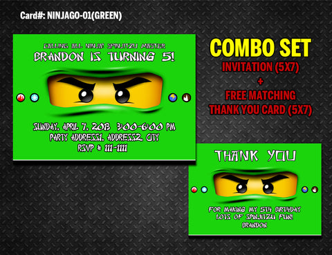 Ninjago Invitation and Thank you DIGITAL printable for Ninja birthday (Green)