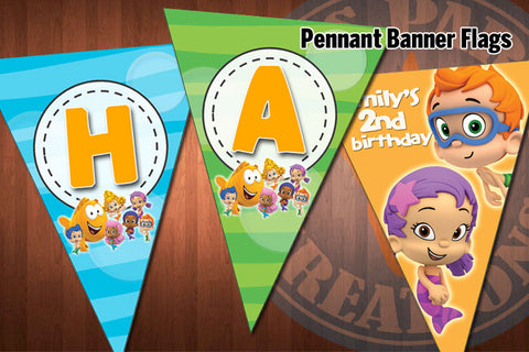 BUBBLE GUPPIES Pennant Banner Flags for Bubble Guppies Birthday Party - DIY Printable Digital Files